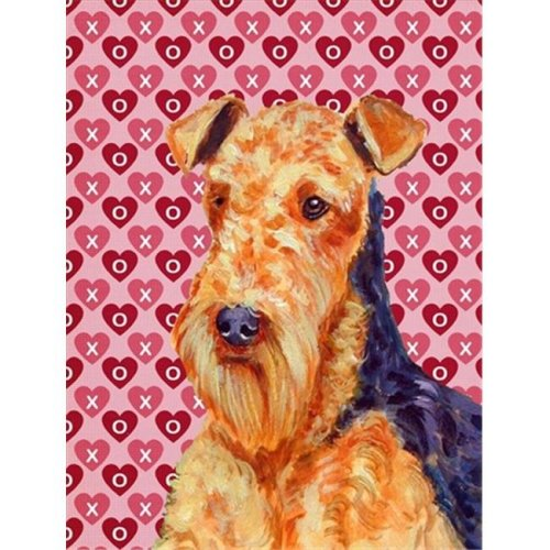 Carolines Treasures LH9156GF 11 x 15 in. Airedale Hearts Love And Valentines Day Portrait Flag Garden Size