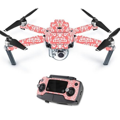 MightySkins DJMAVPRO-Coral Damask Skin Decal Wrap for DJI Mavic Pro Quadcopter Drone Cover Sticker - Coral Damask