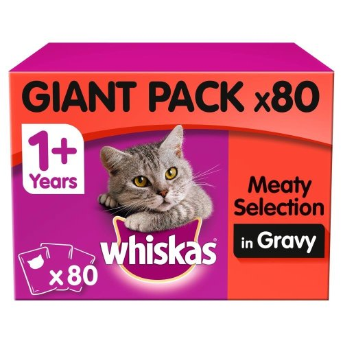 WHISKAS 1+ Cat Pouches Meat Selection In Gravy 80x100g Giant Pack