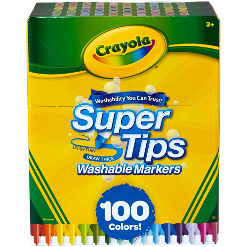 Crayola Super Tips Washable Markers-Assorted Colors 100/Pkg