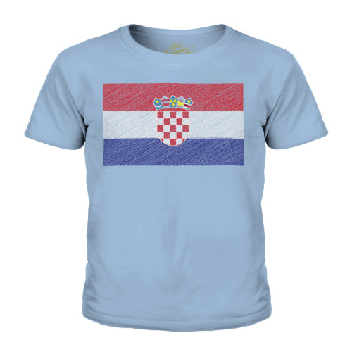 (Sky Blue, 3-4 Years) Candymix - Croatia Scribble Flag - Unisex Kid's T-Shirt