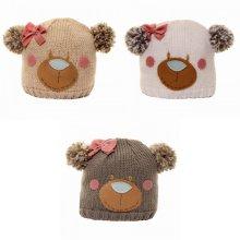 Childrens Girls Bear Design Knitted Winter Ski Hat