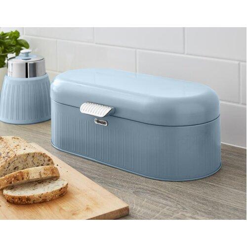 Swan Retro Bread Bin Kitchen Storage Easy Open Lid w/Chrome Plate Handle Easy Clean Generous Capacity - Blue