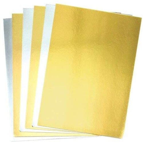 Baker Ross A4 Gold & Silver Metallic Card (250 gsm) — ?Creative Art Supplies for Kids, Christmas Crafts, Card Making, and Decorations (Pack of 20)