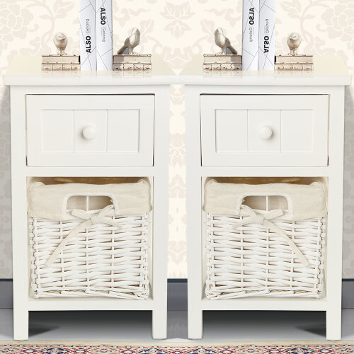 (2pcs) Wooden Bedside Tables Chic White Drawers & Wicker Basket Cabinet