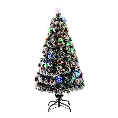 Homcom 4FT Artificial Christmas Xmas  Scattered Snow LED Light Tree Metal Stand