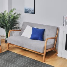 2 Seater Solid Wooden Frame Sofa Couch Upholstered Seat Buttoned Settee