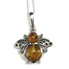 Amber bee pendant, solid Sterling Silver.