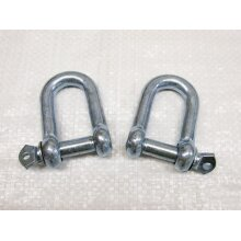 x2 20MM Galvanised Commercial Dee Shackles - Chain Connector Caravan Tether