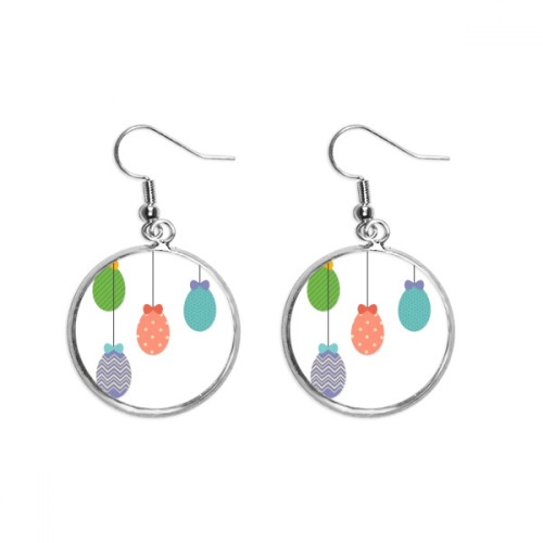 Easter Religion Festival Hanging Colored Egg Ear Dangle Silver Drop Earring Jewelry Woman