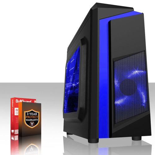 (PC Only, 16GB RAM, 1TB HDD, Vega 8) Fierce EXILE Gaming PC With 3.7GHz AMD Ryzen 3 - Black & Blue