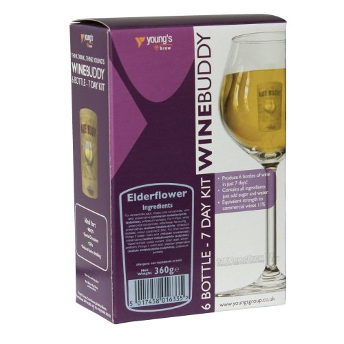 WineBuddy Elderflower 6 Bottle - 7 Day Home brew Wine Making Refill Kit