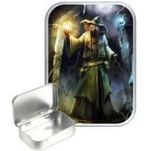 Wizard 30ml Silver Hinged Tobacco Tin, Gift Tin
