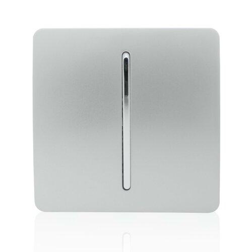 Trendi 1 Gang 2 Way Artistic Modern Glossy 10 Amp Rocker Tactile Light Switch Silver ART-SS2SI