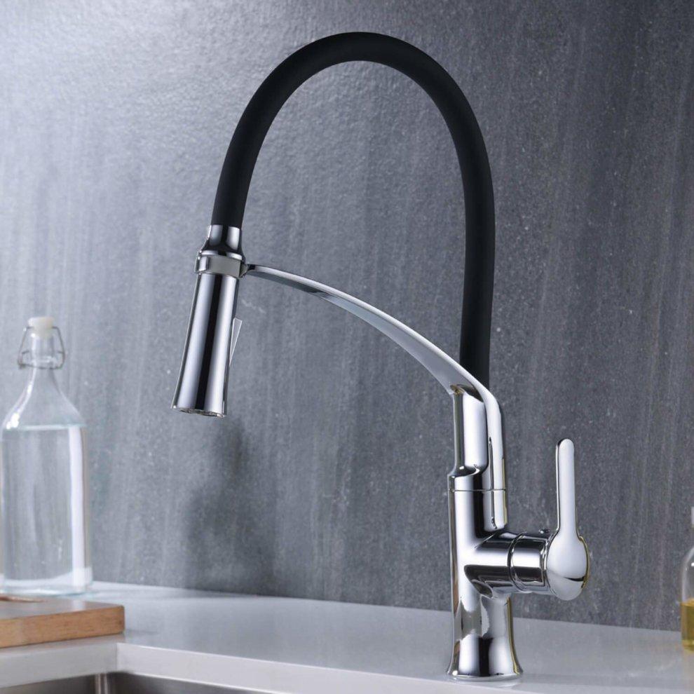 360 Degree Swivel Single Handle Universal Stainless Steel Lead-Free Kitchen Sink Faucet