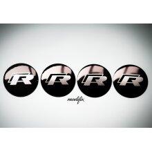 MODIFIX   VW R Line Black Wheel Sticker Center Cap Emblem Logo Badge (4Pcs) 56mm Golf Passat Polo Scirocco CC Touran Jetta Caddy