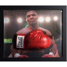 Framed Mike Tyson signed Everlast Boxing glove with COA & proof