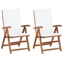 Reclining Garden Chairs with Cushions 2 pcs Solid Teak Wood Cream