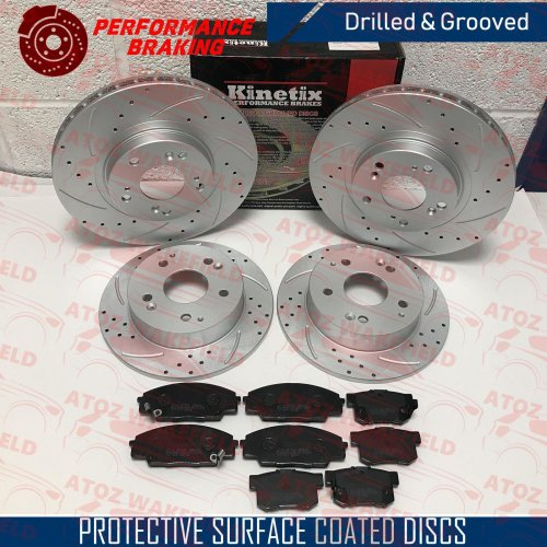 FOR HONDA CIVIC EP3 TYPE FRONT REAR DRILLED GROOVED BRAKE DISCS MINTEX PADS