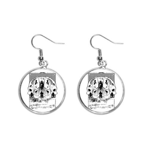 Skeleton Housefly Decoration Pattern Ear Dangle Silver Drop Earring Jewelry Woman