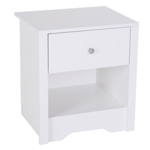 HOMCOM Bedside Table Unit Drawer Shelf Cabinet Chest Solid Wood Bedroom