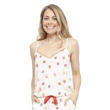 Cyberjammies 4452 Women's Sophia Cream Off-White Strawberry Print Cotton Cami Pyjama Top