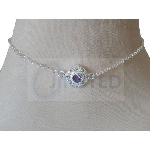 Silver Anklet with Purple Jewel Design ANC027