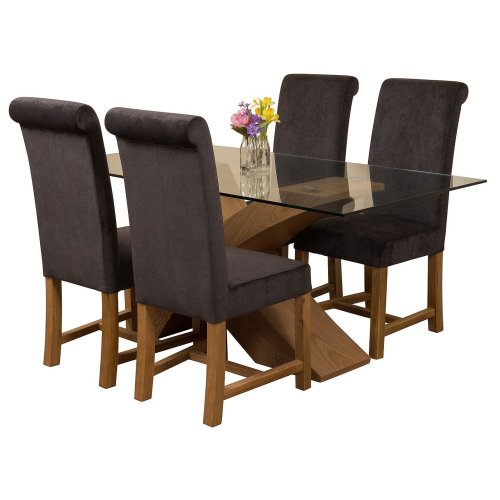 160cm Wood And Glass Dining Table, Small Black Glass Dining Table And Chairs
