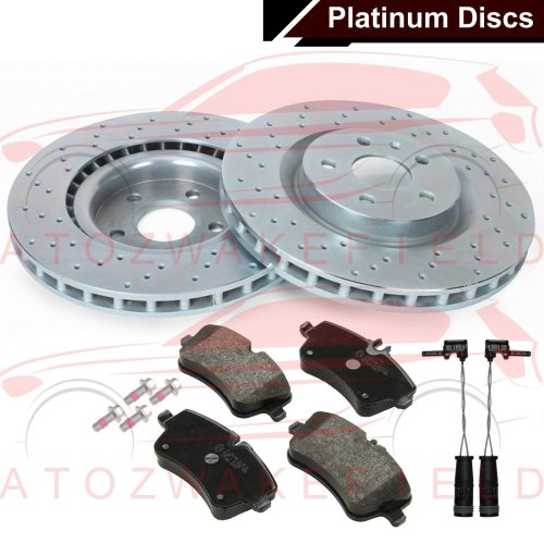 FOR MERCEDES C CLASS S203 FRONT COATED PLATINUM DRILLED BRAKE DISCS PADS WIRES