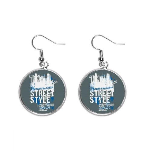 Graffiti Street Landmark Urban Art Pattern Ear Dangle Silver Drop Earring Jewelry Woman