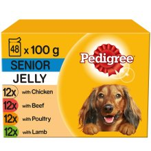PEDIGREE Senior Dog Pouches In Jelly 12x100g (Pack of 4)