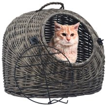 vidaXL Cat Transporter Grey 45x35x35cm Natural Willow Pet Basket Puppy Carrier