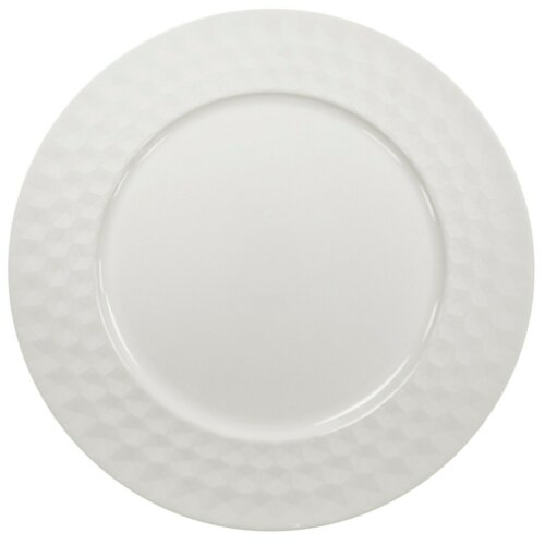 (4) Set Of White Charger Plates 33cm Under Plates Round Chargers Gloss Geometric