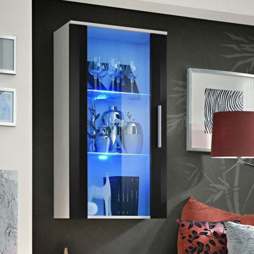 BMF Neo II Floating Display Cabinet 60cm Wide Universal Glass Door Handles LED Lights