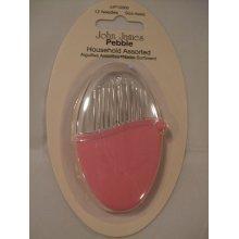 John James Pebble Needle Set - Set of 12 Assorted Household Needles In Vivacious Pink Pebble