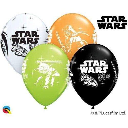 """6 Qualatex Star Wars Darth Vader & Yoda 12"""" Helium/Air Latex Balloons"""