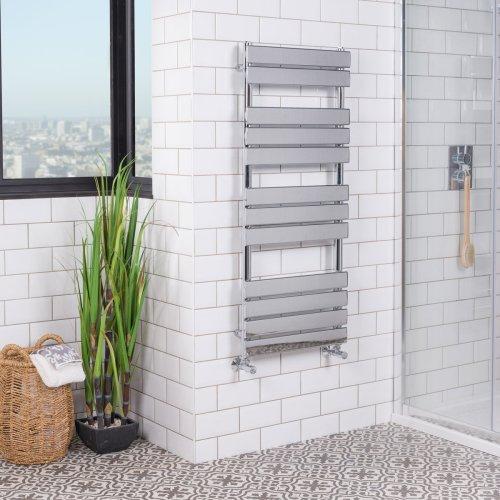 Juva 1200 x 500mm Chrome Flat Panel Heated Towel Rail