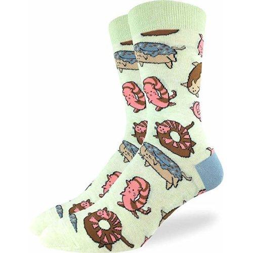 Socks - Good Luck Sock - Men's Crew Socks  - Donut Cats (7-12) 1420