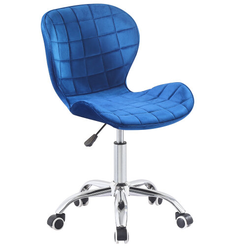 (Blue Velvet) Charles Jacobs Adjustable Swivel Chair | Office Chair With Chrome Wheels