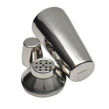 Cocktail Shaker Mixer With Strainer Steel Bar Tool Drink Set - 3 Pieces - 800ml