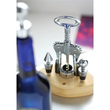 Black/Stainless Steel Corkscrew With 3 Wine Stoppers
