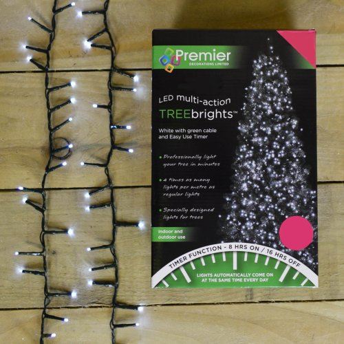 1000 LED (25m) Premier TreeBrights Christmas Lights with TIMER in Cool White