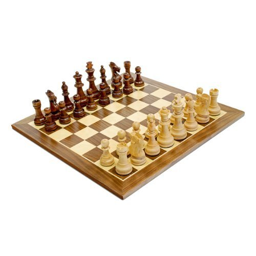 WE Games Traditional Staunton Wood Chess Set with Distressed Wooden Board 14 75 inch Board with 3 75 inch King