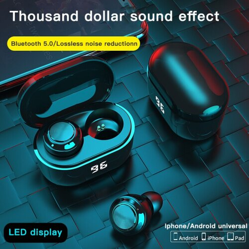A6 TWS Wireless Earphones Bluetooth 5.0 with Charging Box - Black