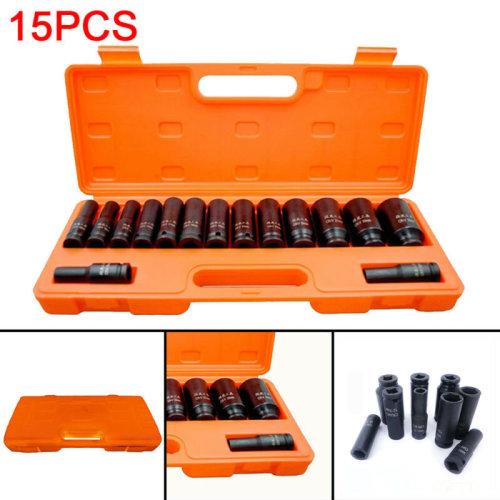 "15x 1/2"" inch Deep  Socket Tool Set 10-32mm Metric Garage Workshop"