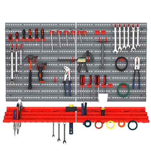 DURHAND 54 Pcs On-Wall Tool Equipment Holding Pegboard Home DIY Garage Organiser
