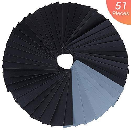 Zacro Sandpaper 51 Pcs Wet and Dry Mixed Grits Sandpaper 120 to 3000 Waterproof Sandpaper for Wood Furniture,Finishing Metal Sanding and Automotive