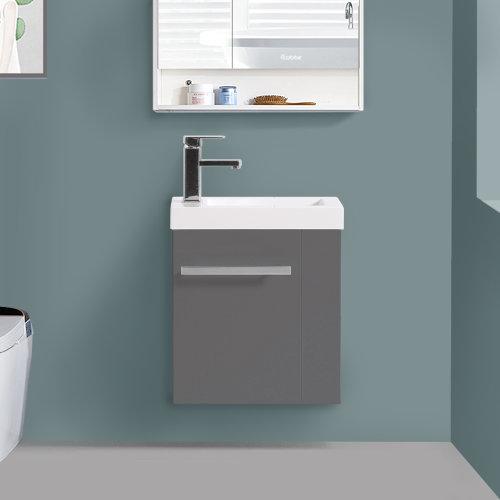 440mm Gloss Grey Cloakroom Basin Vanity Unit Cabinet Bathroom Furniture