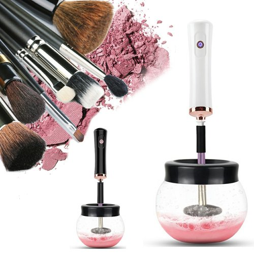 (White) Electric Make up Brush Cleaner Dryer Set Machine Cosmetic Auto Clean Quick Dry