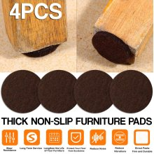Furniture Protector Felt Pads Sticky Non-Slip for Tables Chair Leg 4ps